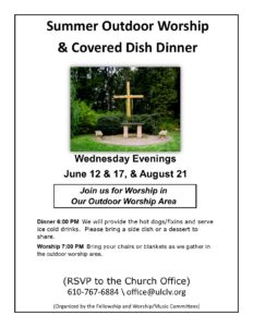 Summer Outdoor Worship and Covered Dish Dinner